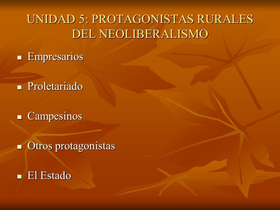 UNIDAD 5: PROTAGONISTAS RURALES DEL NEOLIBERALISMO