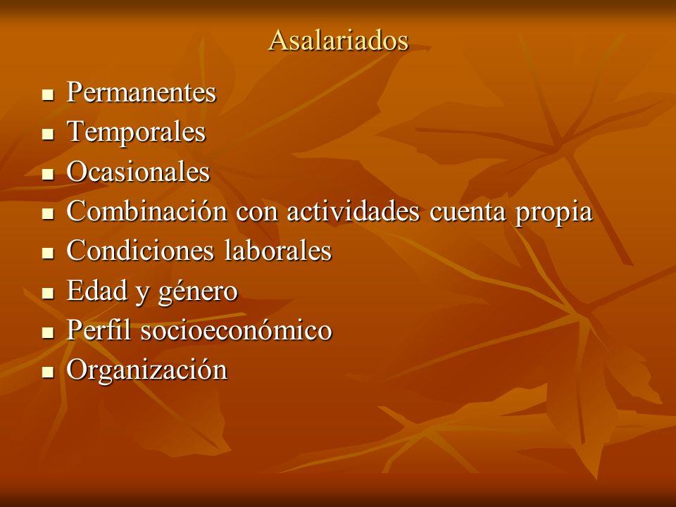 Asalariados Permanentes. Temporales. Ocasionales. Combinación con actividades cuenta propia. Condiciones laborales.