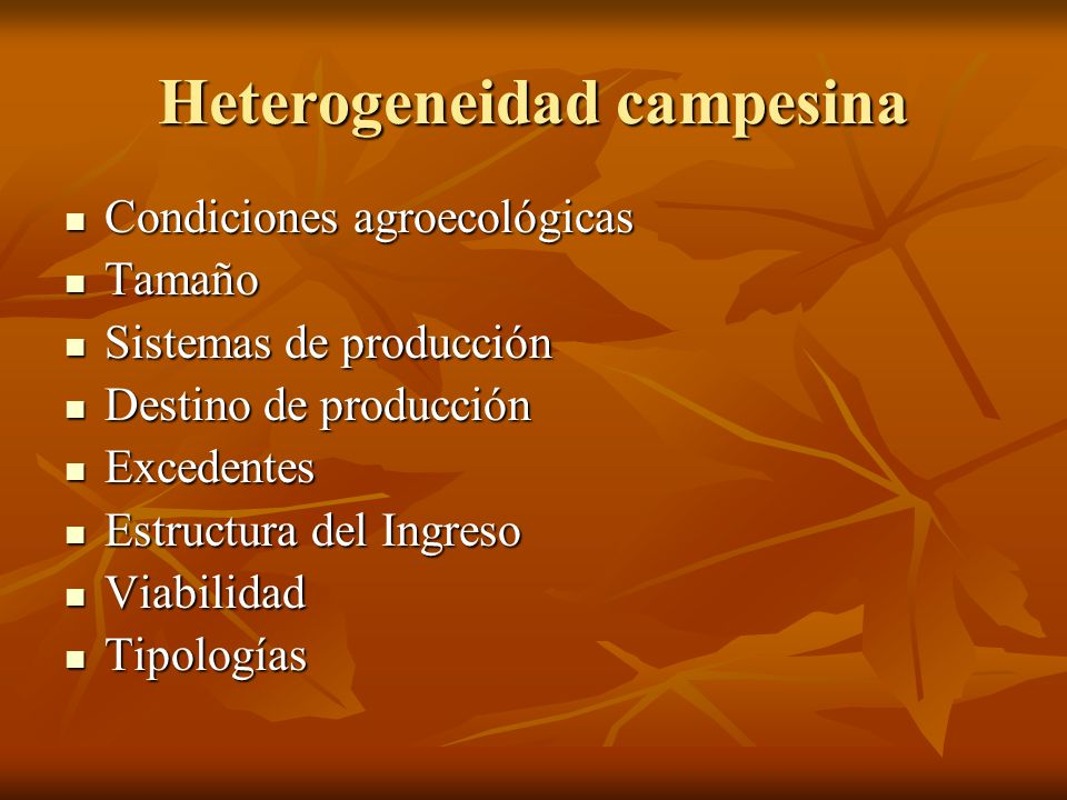 Heterogeneidad campesina