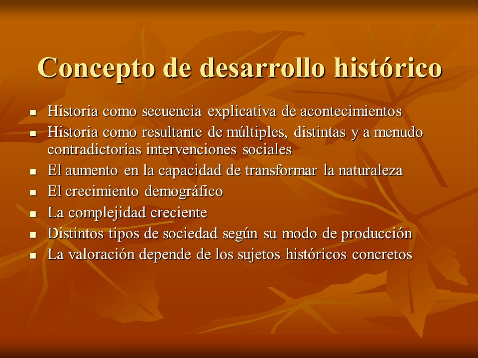 Concepto de desarrollo histórico