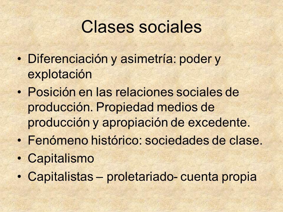 Clases sociales Diferenciación y asimetría: poder y explotación