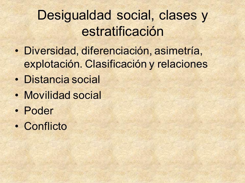 Desigualdad social, clases y estratificación