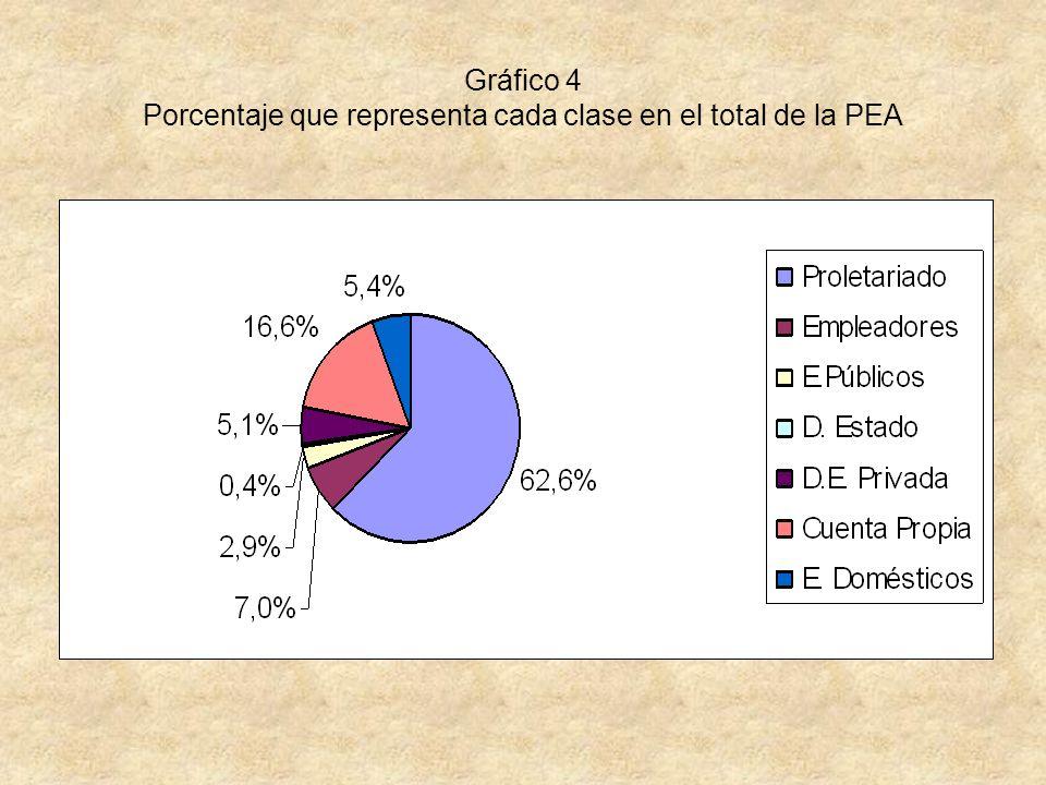 Gráfico 4 Porcentaje que representa cada clase en el total de la PEA
