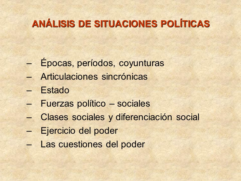 ANÁLISIS DE SITUACIONES POLÍTICAS