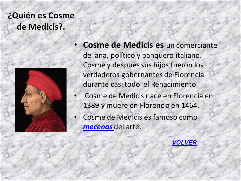 ¿Quién es Cosme de Medicis .