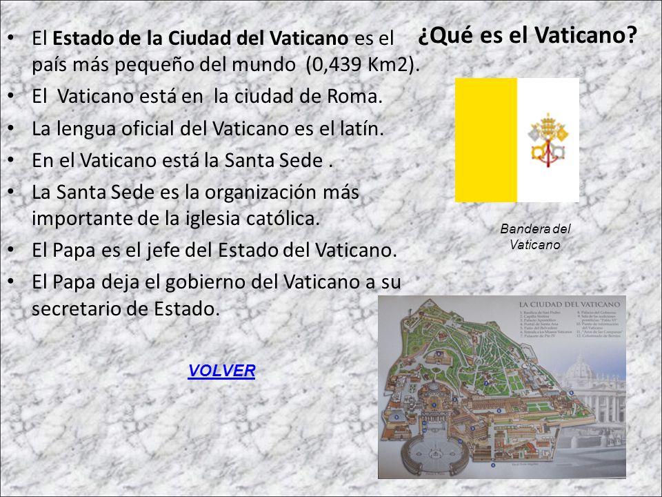 ¿Qué es el Vaticano El Estado de la Ciudad del Vaticano es el país más pequeño del mundo (0,439 Km2).