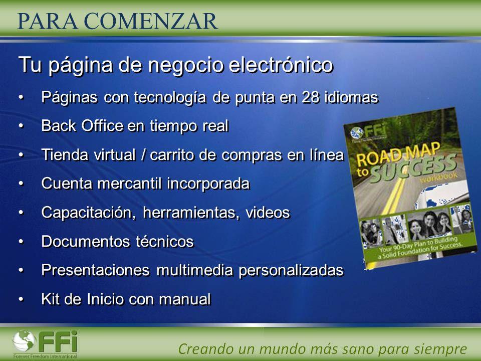 PARA COMENZAR Tu página de negocio electrónico