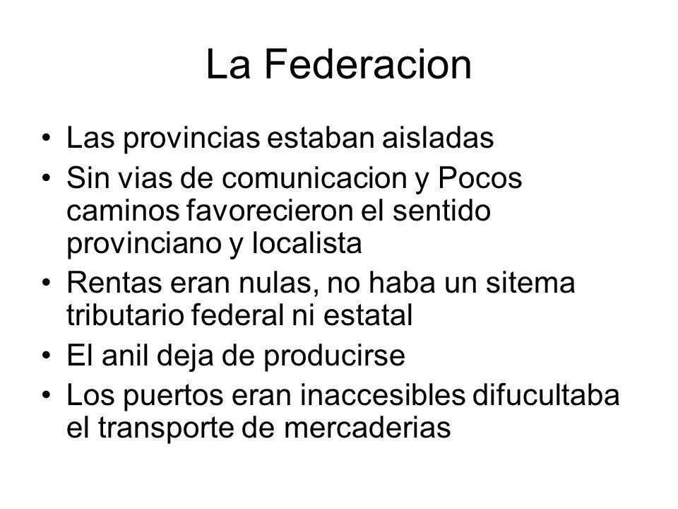 La Federacion Las provincias estaban aisladas