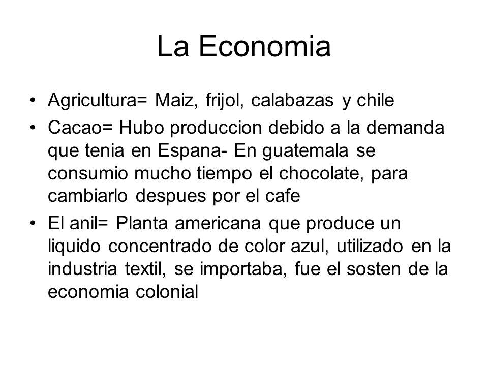 La Economia Agricultura= Maiz, frijol, calabazas y chile