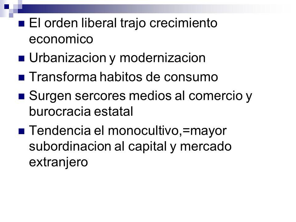 El orden liberal trajo crecimiento economico