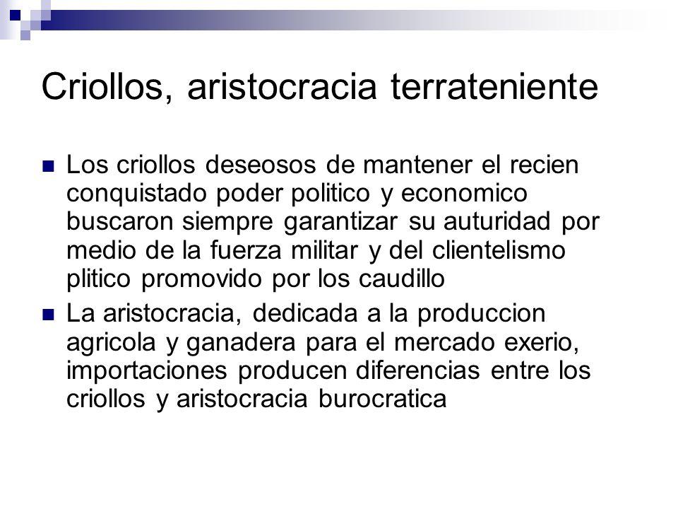 Criollos, aristocracia terrateniente