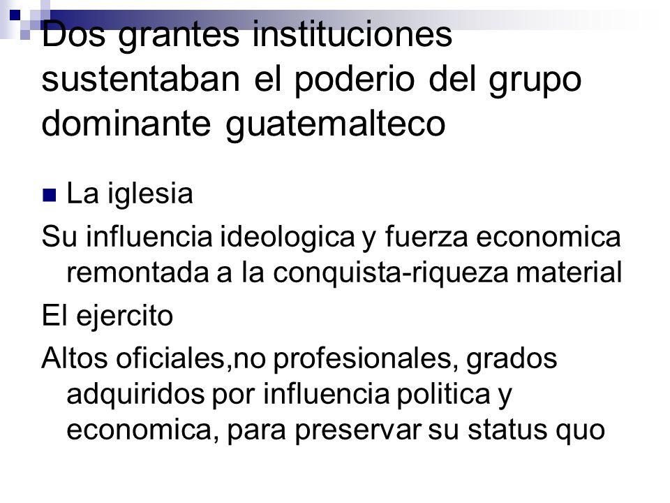 Dos grantes instituciones sustentaban el poderio del grupo dominante guatemalteco