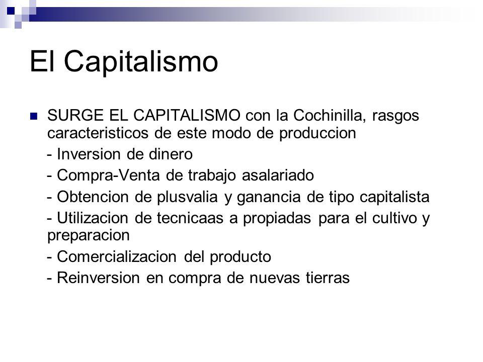 El Capitalismo SURGE EL CAPITALISMO con la Cochinilla, rasgos caracteristicos de este modo de produccion.