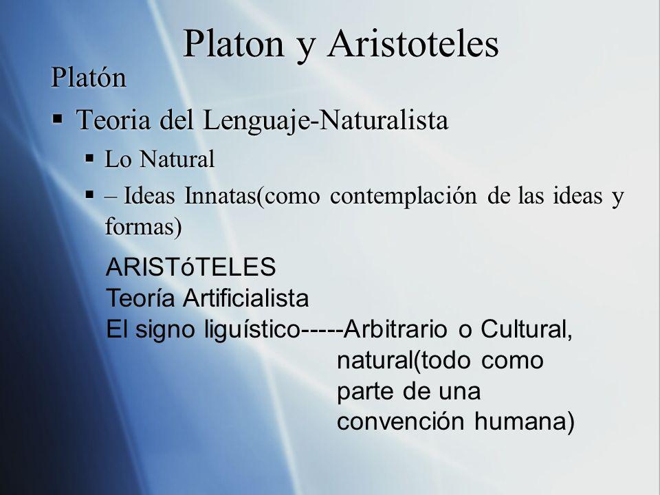 Platon y Aristoteles Platón Teoria del Lenguaje-Naturalista Lo Natural