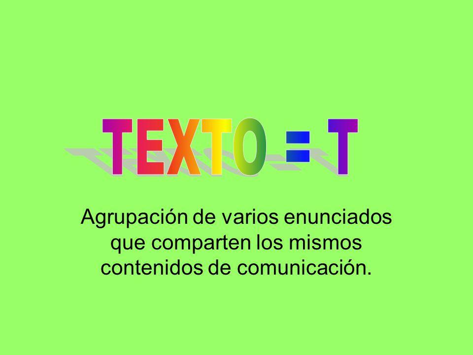 TEXTO = T Agrupación de varios enunciados que comparten los mismos contenidos de comunicación.