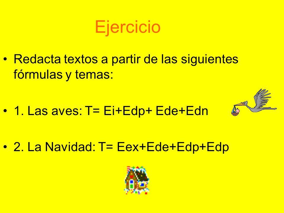 Ejercicio Redacta textos a partir de las siguientes fórmulas y temas: