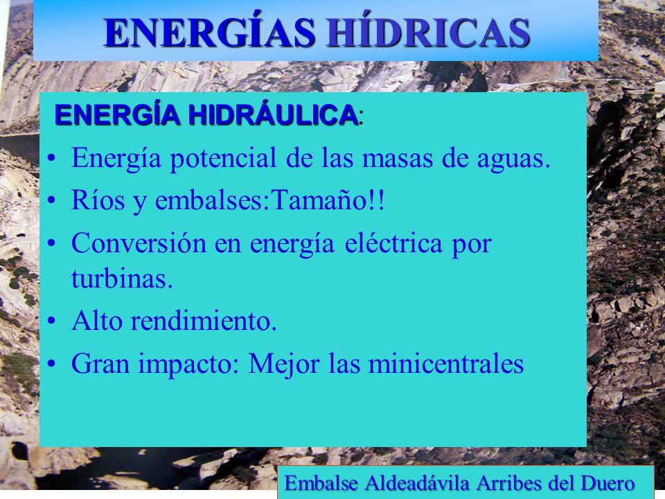 ENERGÍAS HÍDRICAS ENERGÍA HIDRÁULICA: