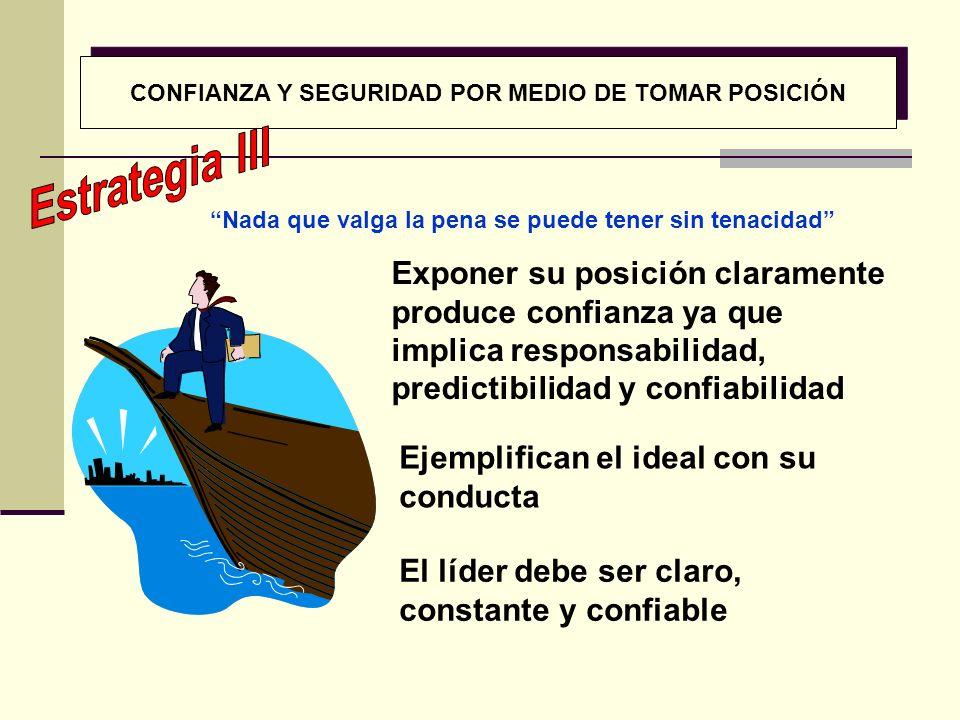 CONFIANZA Y SEGURIDAD POR MEDIO DE TOMAR POSICIÓN