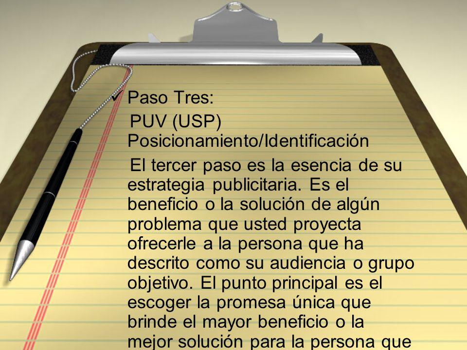 Paso Tres: PUV (USP) Posicionamiento/Identificación.