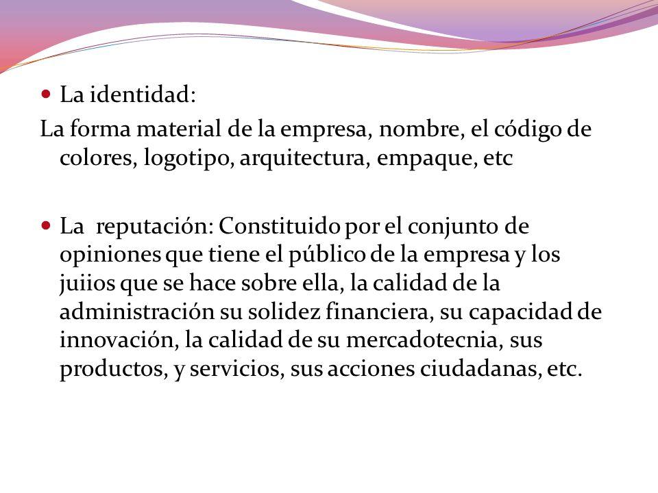 La identidad:La forma material de la empresa, nombre, el código de colores, logotipo, arquitectura, empaque, etc.