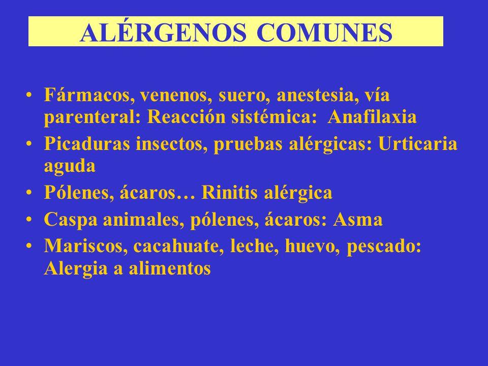 ALÉRGENOS COMUNES Fármacos, venenos, suero, anestesia, vía parenteral: Reacción sistémica: Anafilaxia.