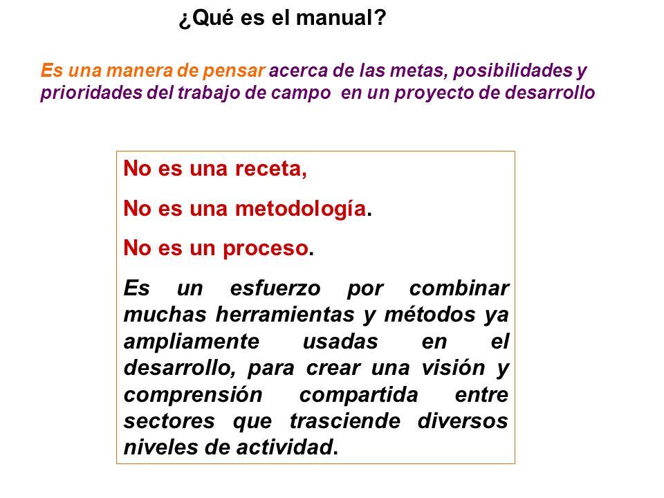 ¿Qué es el manual No es una receta, No es una metodología.