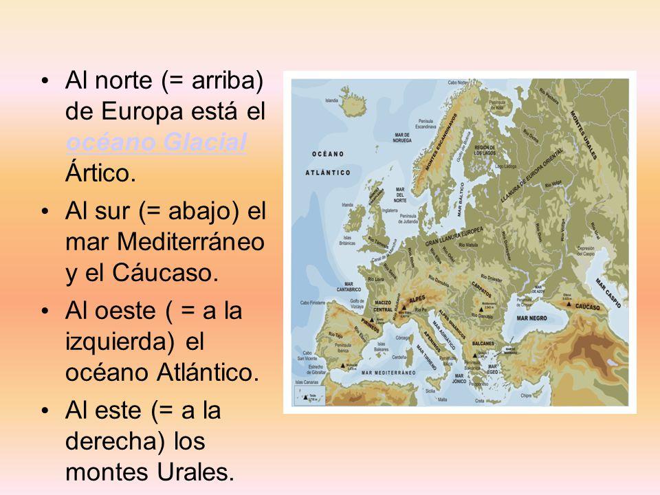Al norte (= arriba) de Europa está el océano Glacial Ártico.