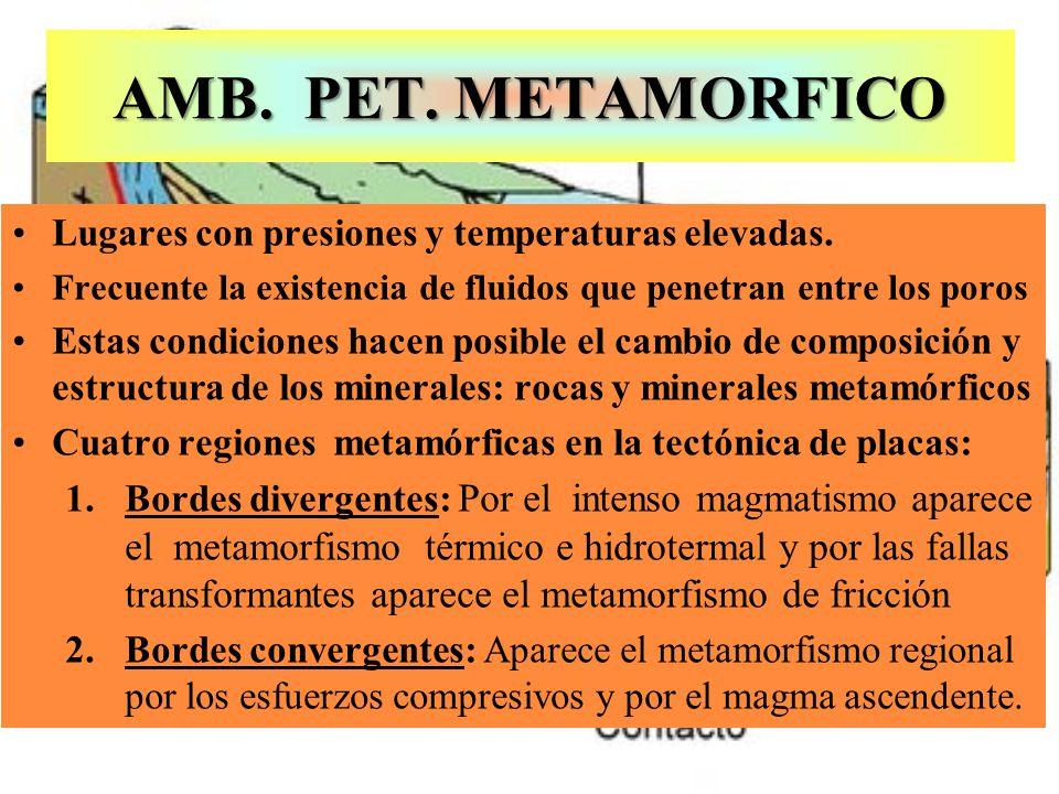 AMB. PET. METAMORFICO Lugares con presiones y temperaturas elevadas.