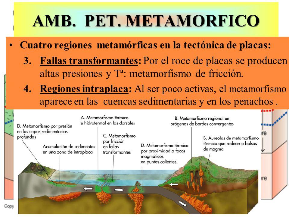 AMB. PET. METAMORFICO Cuatro regiones metamórficas en la tectónica de placas: