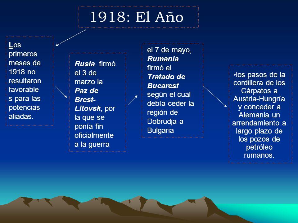 1918: El AñoLos primeros meses de 1918 no resultaron favorables para las potencias aliadas.