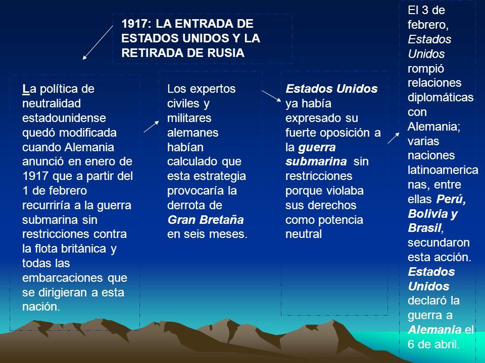 El 3 de febrero, Estados Unidos rompió relaciones diplomáticas con Alemania; varias naciones latinoamericanas, entre ellas Perú, Bolivia y Brasil, secundaron esta acción. Estados Unidos declaró la guerra a Alemania el 6 de abril.