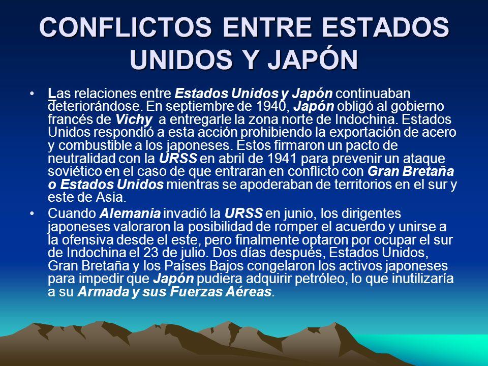 CONFLICTOS ENTRE ESTADOS UNIDOS Y JAPÓN
