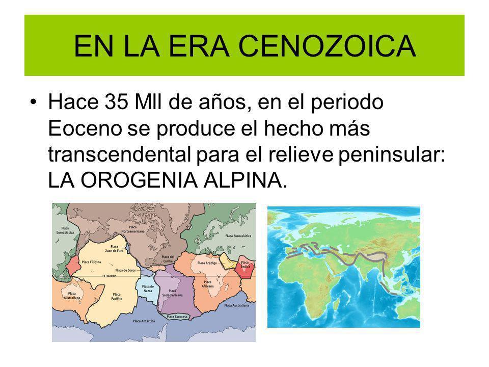 EN LA ERA CENOZOICA Hace 35 Mll de años, en el periodo Eoceno se produce el hecho más transcendental para el relieve peninsular: LA OROGENIA ALPINA.