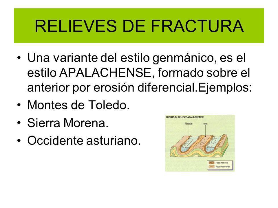 RELIEVES DE FRACTURA Una variante del estilo genmánico, es el estilo APALACHENSE, formado sobre el anterior por erosión diferencial.Ejemplos: