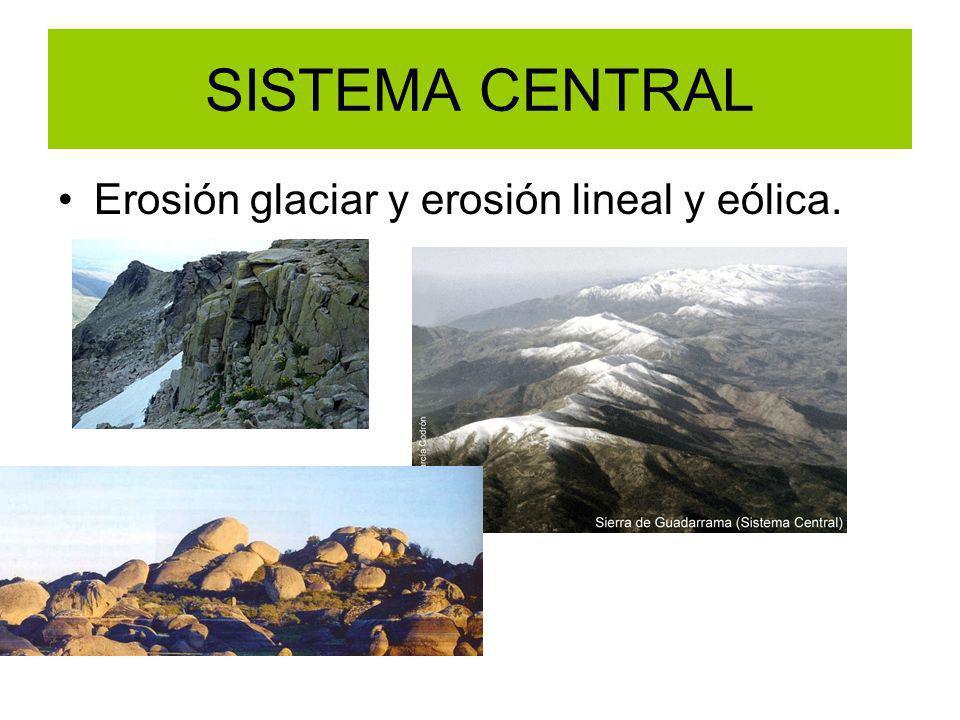 SISTEMA CENTRAL Erosión glaciar y erosión lineal y eólica.