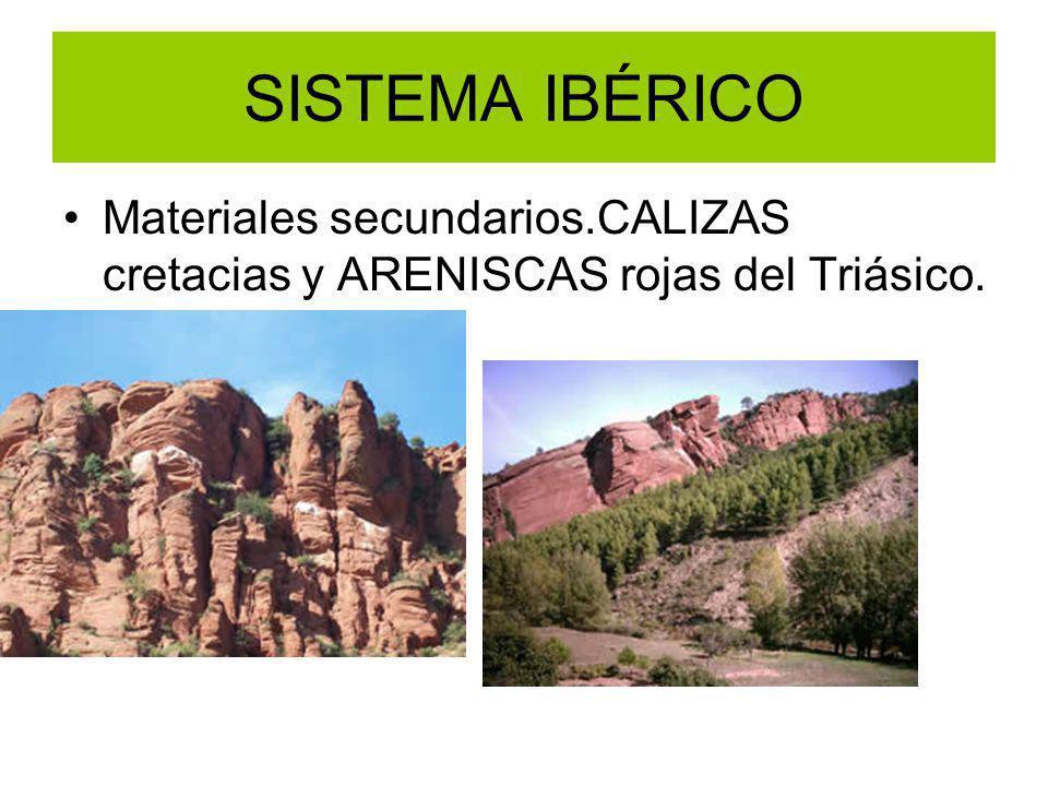 SISTEMA IBÉRICO Materiales secundarios.CALIZAS cretacias y ARENISCAS rojas del Triásico.