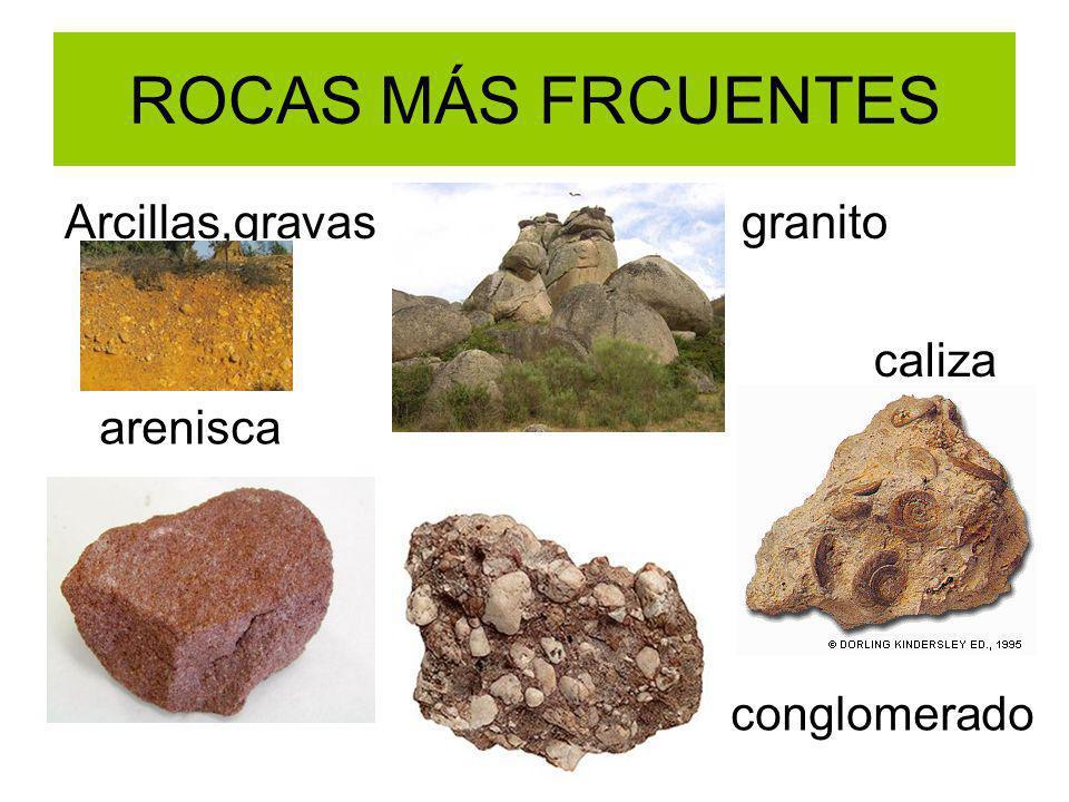 ROCAS MÁS FRCUENTES Arcillas,gravas granito caliza arenisca