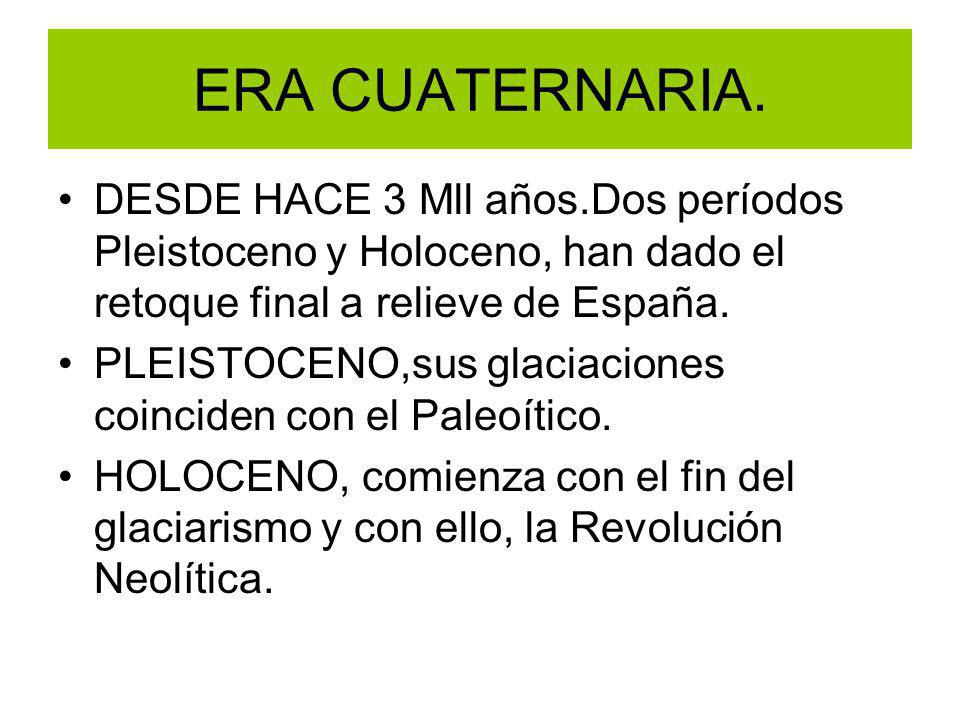 ERA CUATERNARIA. DESDE HACE 3 Mll años.Dos períodos Pleistoceno y Holoceno, han dado el retoque final a relieve de España.