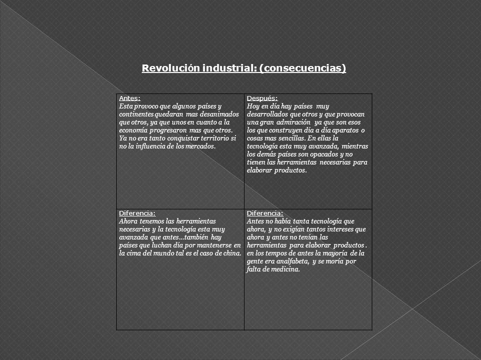 Revolución industrial: (consecuencias)