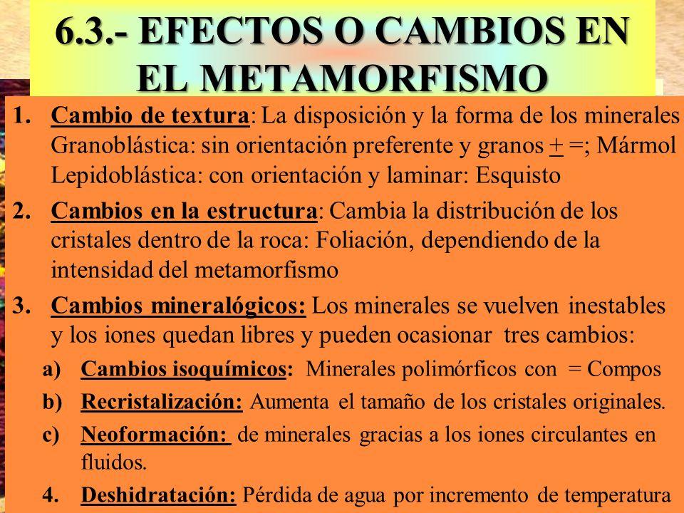6.3.- EFECTOS O CAMBIOS EN EL METAMORFISMO