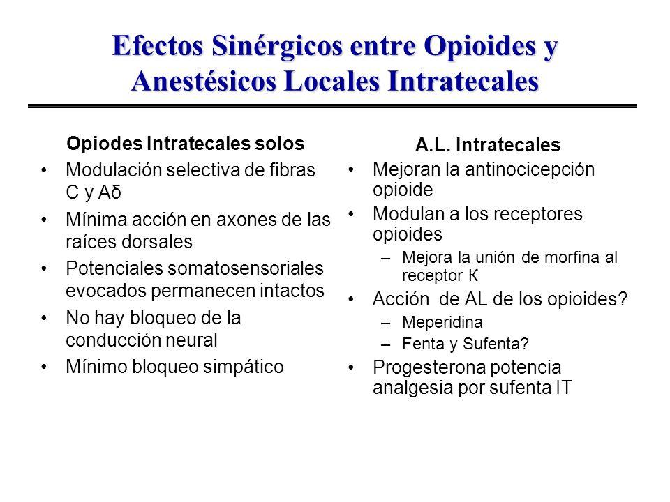 Efectos Sinérgicos entre Opioides y Anestésicos Locales Intratecales