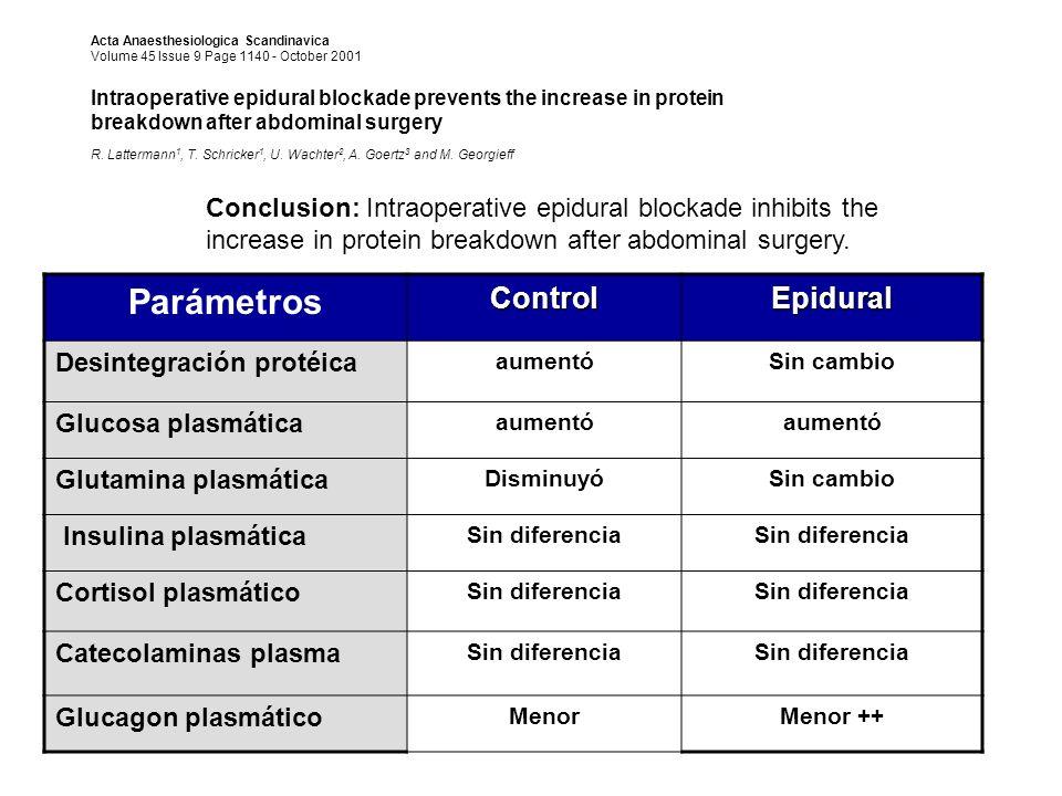 Parámetros Control Epidural Desintegración protéica