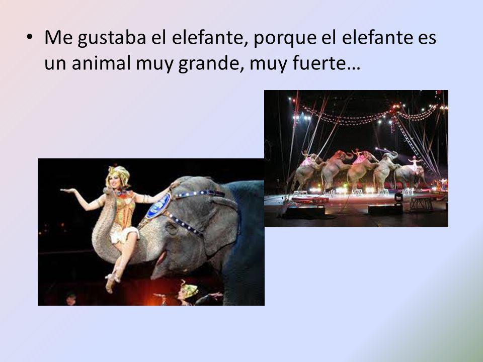 Me gustaba el elefante, porque el elefante es un animal muy grande, muy fuerte…
