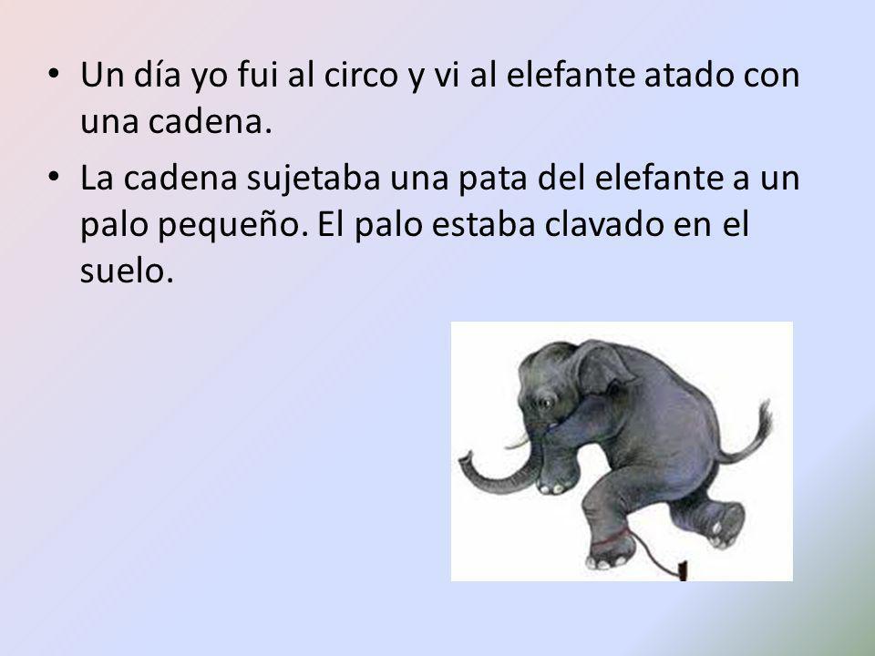 Un día yo fui al circo y vi al elefante atado con una cadena.