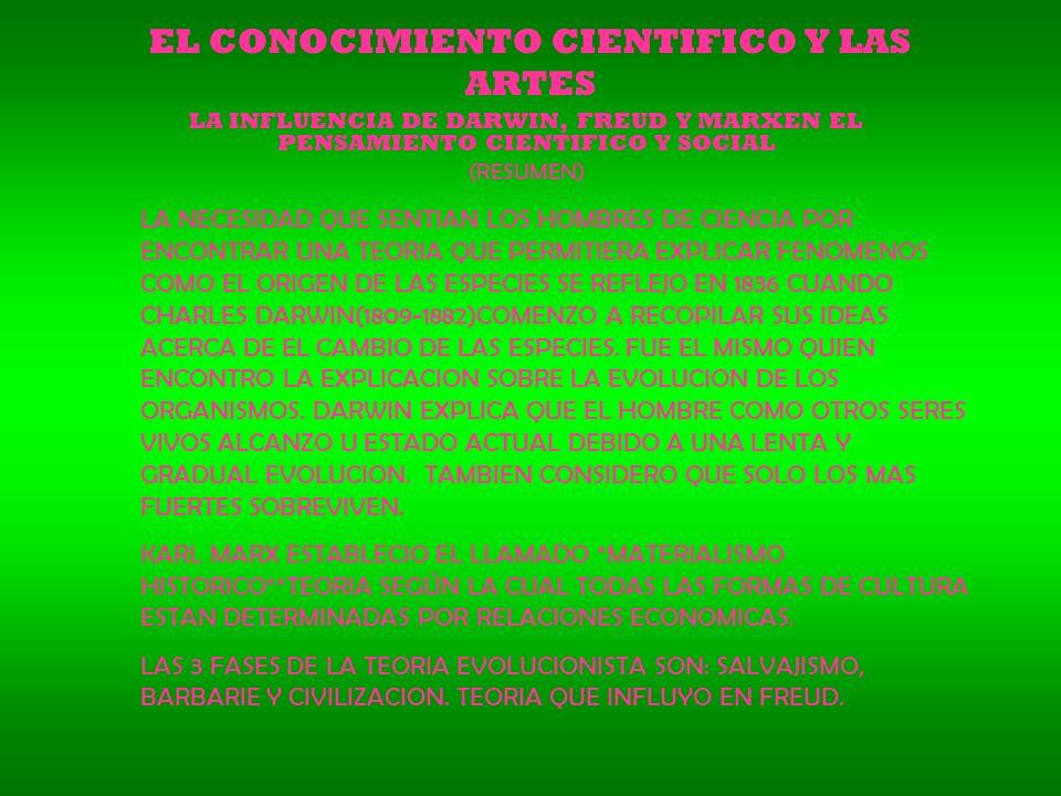 EL CONOCIMIENTO CIENTIFICO Y LAS ARTES