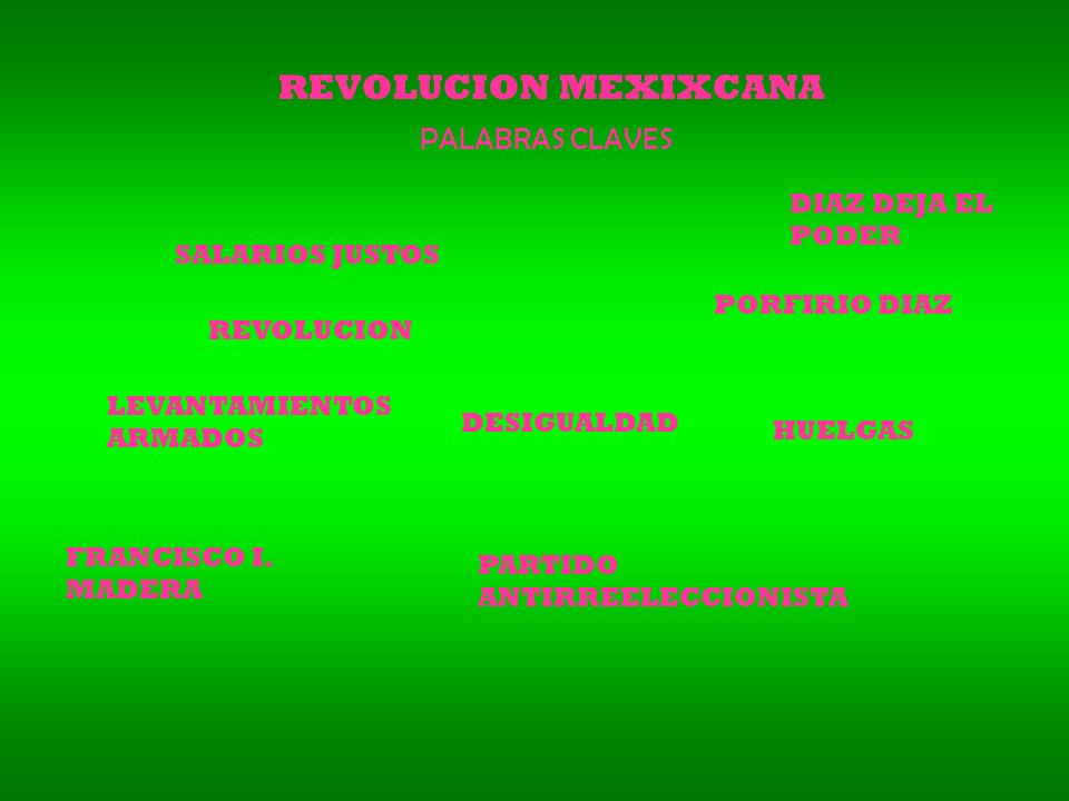 REVOLUCION MEXIXCANA PALABRAS CLAVES DIAZ DEJA EL PODER
