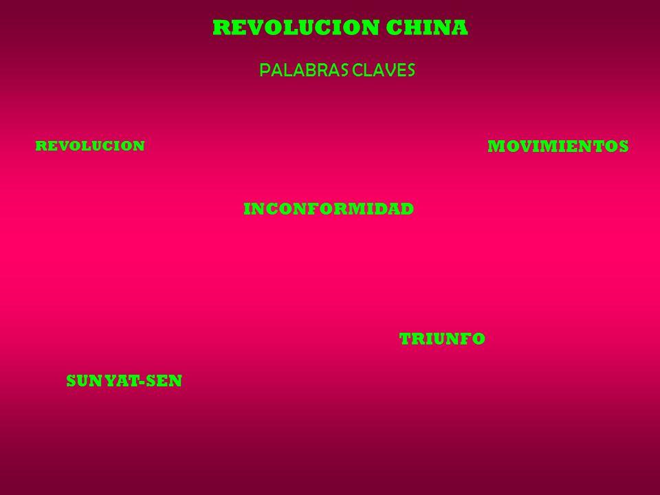 REVOLUCION CHINA PALABRAS CLAVES MOVIMIENTOS INCONFORMIDAD TRIUNFO