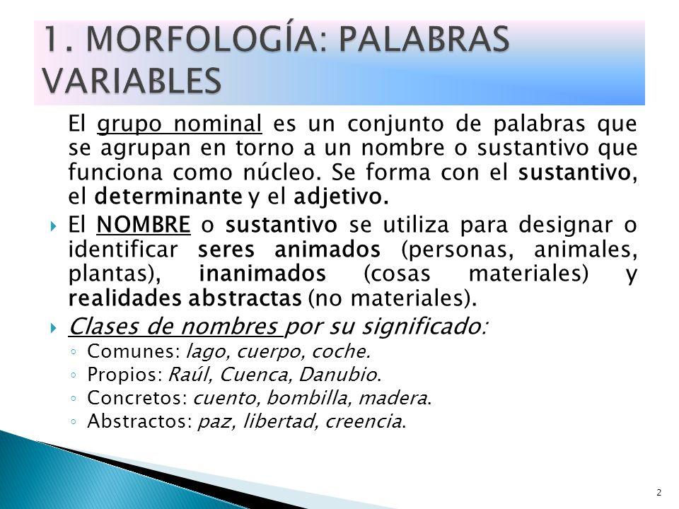 1. MORFOLOGÍA: PALABRAS VARIABLES