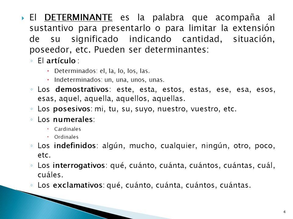 El DETERMINANTE es la palabra que acompaña al sustantivo para presentarlo o para limitar la extensión de su significado indicando cantidad, situación, poseedor, etc. Pueden ser determinantes: