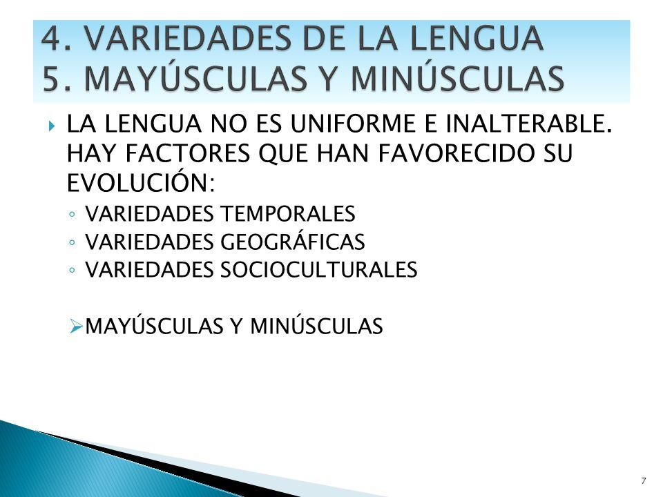 4. VARIEDADES DE LA LENGUA 5. MAYÚSCULAS Y MINÚSCULAS